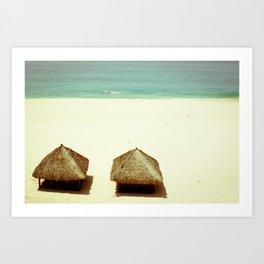 Vintage Beach Huts Art Print