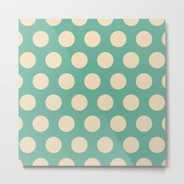 Colorful Mid Century Modern Polka Dots 526 Beige and Turquoise Metal Print