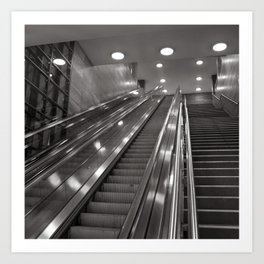 Underground station - stairs - Brandenburg Gate - Berlin Art Print
