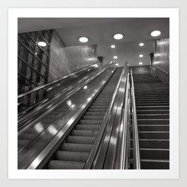 Underground station - stairs - Brandenburg Gate - Berlin Art Print