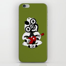 Black and Grey Hei Tiki playing a Ukulele iPhone Skin