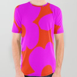 Pink Retro Flowers Orange Red Background #decor #society6 #buyart All Over Graphic Tee