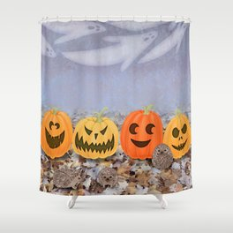 halloween hedgehogs, pumpkins, and ghost clouds Shower Curtain