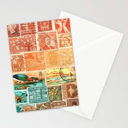 Green Heron at Sunset - postage stamp collage Stationery Cards