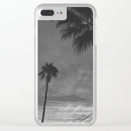 Palm Trees Black and White Clear iPhone Case