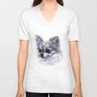 chihuahua V-neck T-shirts featuring Chihuahua by Danguole Serstinskaja