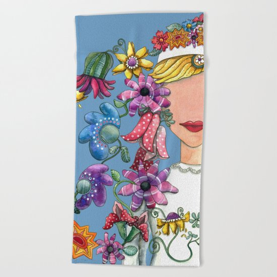 I Love The Flower Girl Beach Towel