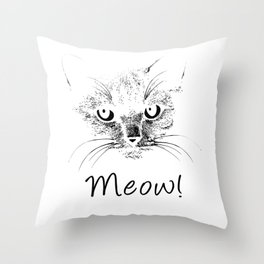 Meow! Simple Cat Style bw Throw Pillow