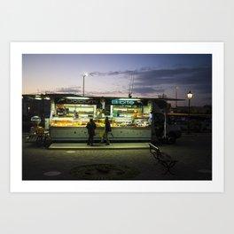 Night Street Photography in Cesenatico Italy Art Print