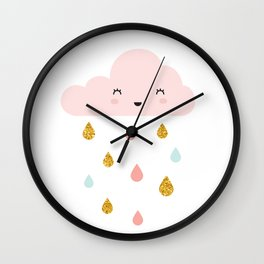 Dance in the rain, Cloud and raindrops - Pink Wall Clock