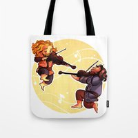 fili Tote Bags featuring Fiddling Fili and Kili by quelm