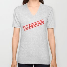 Classified Red Rubber Stamp Unisex V-Neck