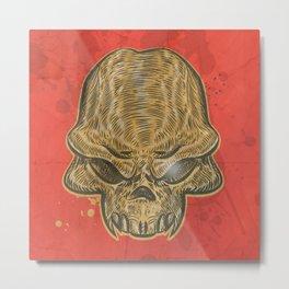 horror skull on red background Metal Print