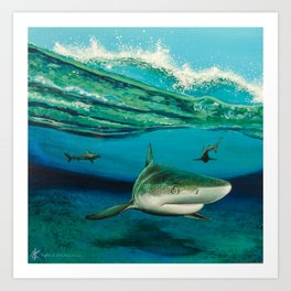 Blacktip Surf Art Print