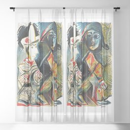 Pablo Picasso Le clown et l'Harlequin (The Clown and the Harlequin) 1971 Artwork, tshirt, tee, jerse Sheer Curtain