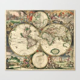 Old map of world hemispheres. Created by Frederick De Wit, 1668 Canvas Print