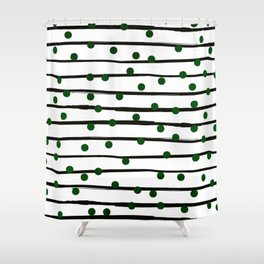 Modern black forest green polka dots stripes Shower Curtain