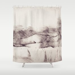 Lying on the bed. Nude studio Shower Curtain