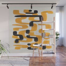 Mid Century Modern Abstract Painting Antique Yellow Black Funky Wiggle Pattern Wall Mural