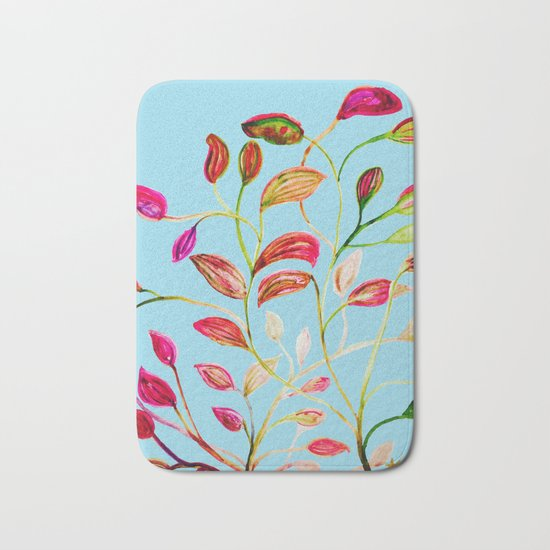 Red and Green Leaves on Light Blue Bath Mat