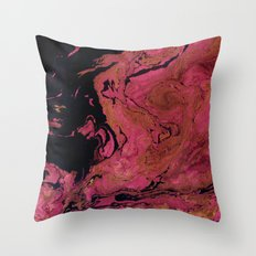 Marble texture background black and cream , pink shades . Throw Pillow