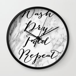Wash dry fold repeat marble laundry print Wall Clock