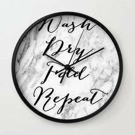 Wash dry fold repeat marble laundry print Wall Clock