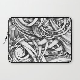 Escher Like Abstract Hand Drawn Graphite Gray Depth Laptop Sleeve