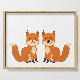 cute fox, boy and girl with funny face and fluffy tails on white background Serving Tray