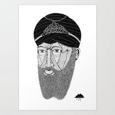 Sikh Guru with Fully Sick Beard and Bejeweled Turban Art Print