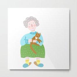 Cute grandmother and her cat. Metal Print