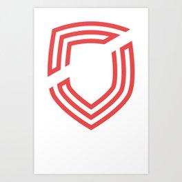 third. Shield - Red Art Print