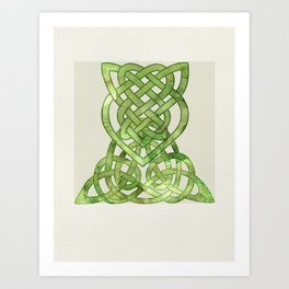 Celtic Knot:  Green Watercolor with complex form - Ireland - traditional folk art Art Print
