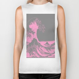 The Great Wave Pink & Gray Biker Tank