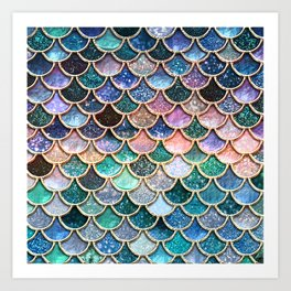 Multicolor Pink And Aqua Mermaid Scales - Beautiful Abstract Glitter Pattern  Kunstdrucke