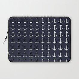 Nautical navy blue white modern anchor pattern Laptop Sleeve