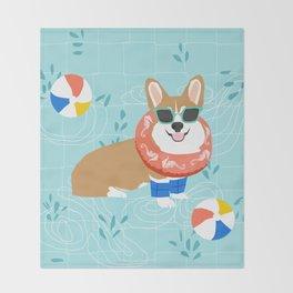Corgi Pool Party Summer Fun Dog Costume Beach Ball Corgi Dog Design Throw Blanket
