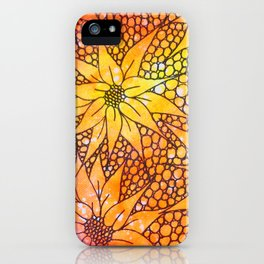 Black flowers on neon painting iPhone Case