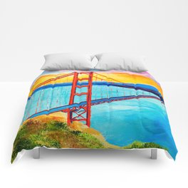 Golden Gate At Sunset Comforters