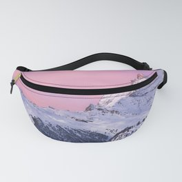 Beautiful Snow Covered Mountain Range At Romantic Sunset Purple Shade Ultra HD Fanny Pack
