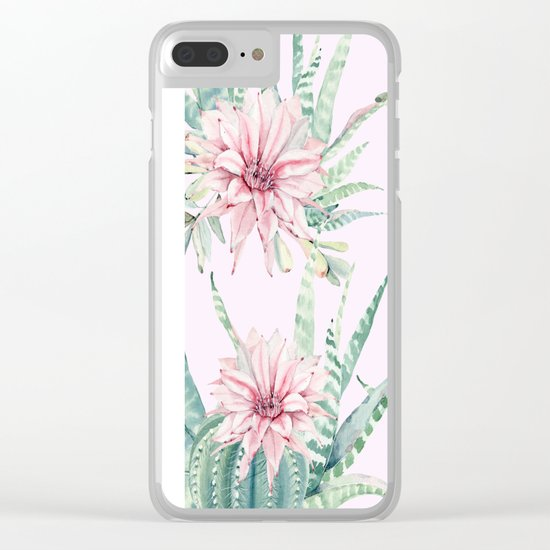 Cactus Pattern 2 Pink #society6 #buyart Clear iPhone Case