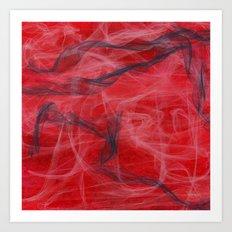Red and Smoke Art Print