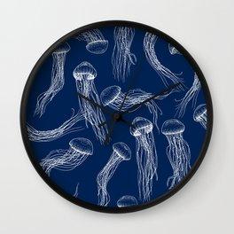 Jellyfish Print - Navy Wall Clock