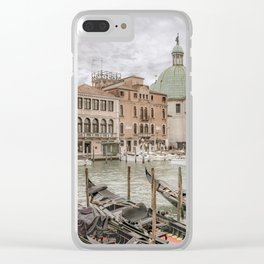 Gondolas Parked at Grand Canal, Venice, Italy Clear iPhone Case