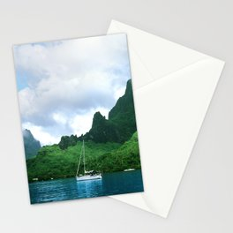Sailboat in Cook's Bay: Moorea, South Pacific Stationery Cards