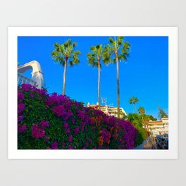 Bougainville and Palms Tenerife Art Print