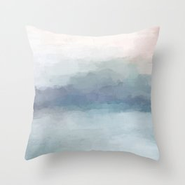Blush Pink Mint Sky Baby Blue Abstract Ocean Sky Sunrise Wall Art Water Clouds Painting Print Throw Pillow