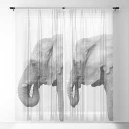 Majestic Elephant Sheer Curtain