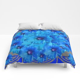 CERALIAN BLUE HOLLYHOCKS ART DECO ABSTRACT Comforters