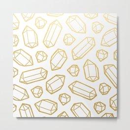 Gold and White Gemstone Pattern Metal Print